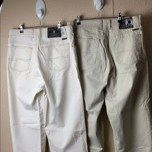 2 pair of vintage lucky brand jeans white khaki 36